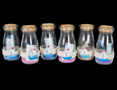 G1037 - Message in a Bottle w/ Sand and Shells - Assorted Colors