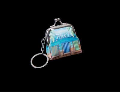 1696 - Coin Purse Keychain - Beach Chair Desgin
