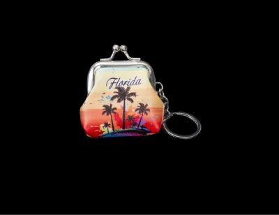 1698 - Coin Purse Keychain - Palm Tree Desgin