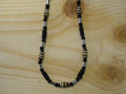 N-8367 - Bone, Hemp & Metal Bead Fashion Necklace