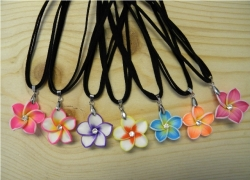 N-8355 - Fimo Jeweled Flower Pendant Necklace (Assorted Colors)