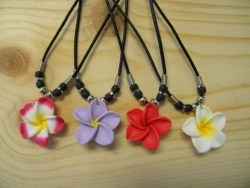N-8356 - Fimo Flower Pendant Necklace (Assorted Colors)