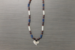 SN-8066    Shark Tooth Neckace w/ Denim, Red Coco and Hematite Beads