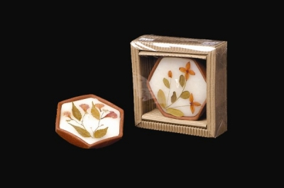 Terra Hexagon Candle with Dried Flowers