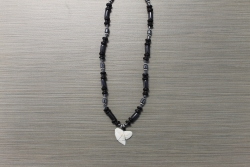 SN-8067    Shark Tooth Neckace w/ Black Coco and Hematite Beads