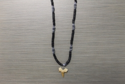 SN-8068    Shark Tooth Neckace w/ Black Coco and Hematite Beads