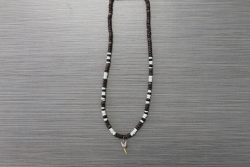 SN-8088    Shark Tooth Neckace w/ Brown & White Coco Beads