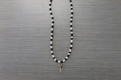 SN-8091    Shark Tooth Neckace w/ Brown & White Coco Beads