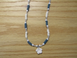 N-8476 - Fimo Flower w/ Denim and White Coco Necklace