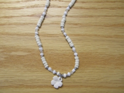 N-8479 - Fimo Flower w/ White Coco Necklace