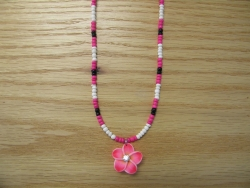 N-8497 -  Pink Fimo Flower Necklace