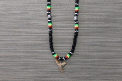 SN-8105 - Black Coco and Rasta Clam Shell Shark Tooth Necklace