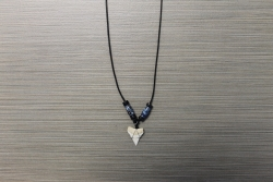 SN-8111 - Genuine Shark Tooth Necklace on Cord w/ Metal & Wood Beads