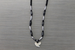 SN-8127 - Genuine Shark Tooth Fashion Necklace w/ Metal & Wood Beads