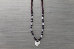 SN-8141 - Genuine Shark Tooth Fashion Necklace w/ Metal & Wood Beads