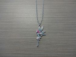 N-8518 - Stone Inlay Fairy Pendant Necklace - Blue
