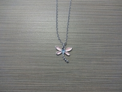 N-8521 - Enamel Inlay Dragonfly Pendant Necklace - Pink