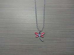 N-8522 - Enamel Inlay Dragonfly Pendant Necklace - Red