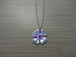 N-8525 - Enamel Inlay Hibiscus Pendant Necklace - Purple