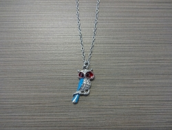 N-8528 - Enamel Inlay Owl Pendant Necklace - Blue