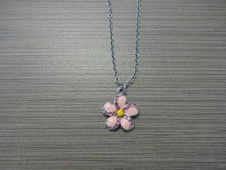 N-8531 - Enamel Inlay Flower Pendant Necklace - Pink