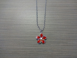 N-8532 - Enamel Inlay Flower Pendant Necklace - Red