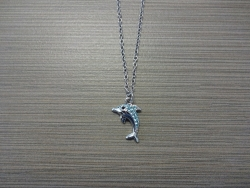 N-8534 - Stone Inlay DolphinPendant Necklace - Blue
