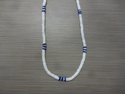 N-8543 - White & Neon Blue Clam Shell Necklace