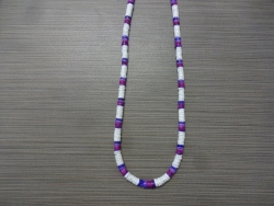 N-8553 - Purple & White Clam Shell Necklace