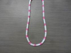 N-8554 - Pink & White Clam Shell Necklace
