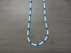 N-8555 - Blue & White Clam Shell Necklace