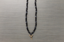 SN-8052 - Genuine Shark Tooth on Wood & Hematite Bead Necklace