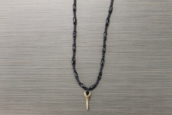 SN-8054 - Genuine Shark Tooth on Wood & Metal Bead Necklace