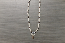 SN-8057 - Genuine Shark Tooth on Wood & Metal Bead Necklace