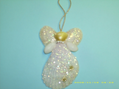 Glitter Shell Angel Ornament